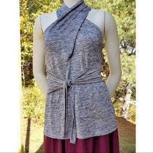 BCBGMaxAzria Gray Sleeveless Wrap Top, M